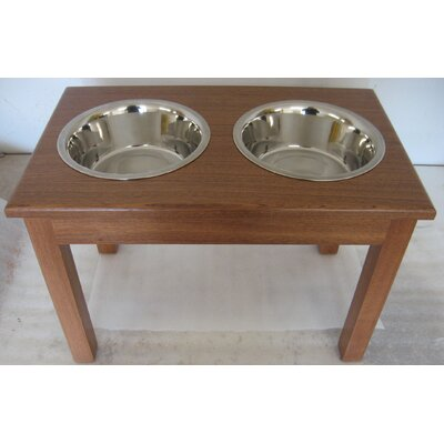 2-Bowl Traditional Style Pet Diner Size: Small (5'' H x 9.5'' W x 18'' D), Wood Type: Mahogany