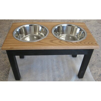 2 Bowl Pet Diner Finish: Espresso Base with Medium Walnut Top