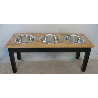 3 Bowl Pet Diner Finish: Espresso with Walnut Top