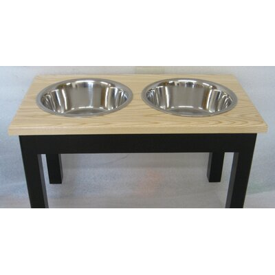 2 Bowl Pet Diner Finish: Espresso Base with Natural Top