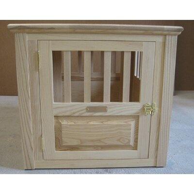 Ines Handmade Furniture-Style Pet Crate Size: Small (23 H x 24 W x 29 L), Color: Natural, Door: Front