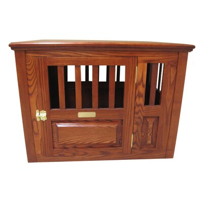 Ines Handmade Furniture-Style Pet Crate Size: Medium (27 H x 25 W x 40 L), Color: Medium Walnut, Door: Right Side Door