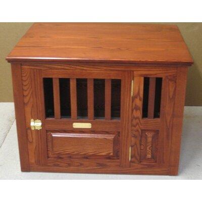 Ines Handmade Furniture-Style Pet Crate Size: Small (23 H x 24 W x 29 L), Color: Cherry, Door: Left Side Door