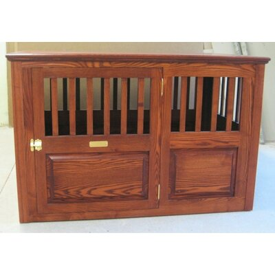 Ines Handmade Furniture-Style Pet Crate Size: Large (30 H x 29.25 W x 45.25 L), Color: Cherry, Door: Left Side Door