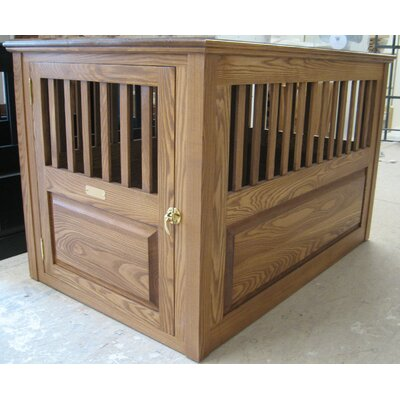 Ines Handmade Furniture-Style Pet Crate Size: Small (23 H x 24 W x 29 L), Color: Medium Walnut, Door: Front