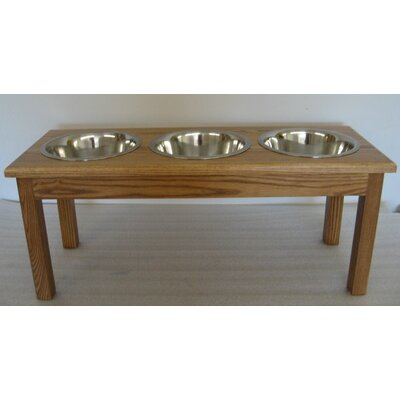 3 Bowl Pet Diner Finish: Medium Walnut