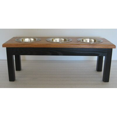 3 Bowl Pet Diner Finish: Espresso Base with Cherry Top