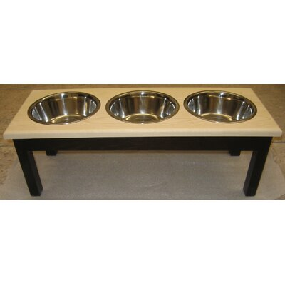 3 Bowl Pet Diner Finish: Espresso with Natural Top