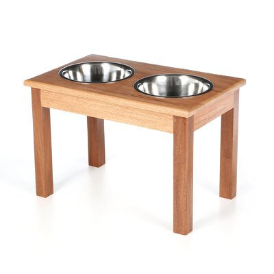 2-Bowl Traditional Style Pet Diner Size: X-Large (16 H x 14.88 W x 23.88 D), Wood Type: Mahogany
