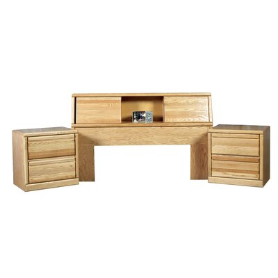 Bookcase Headboard Color: Golden Oak, Size: Queen