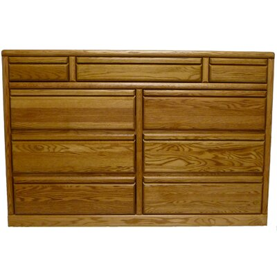 Bullnose 11 Drawer Dresser Color: Chestnut Oak
