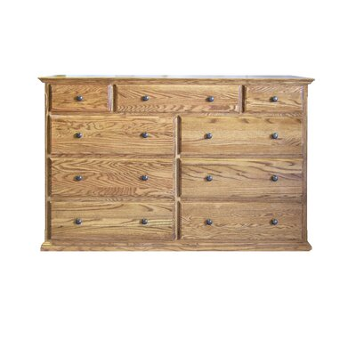 9 Drawer Dresser Color: Honey Oak