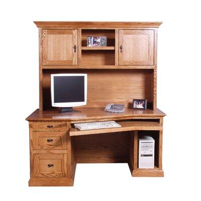 Forest Designs Angled Desk with Hutch - Finish: Black Adler