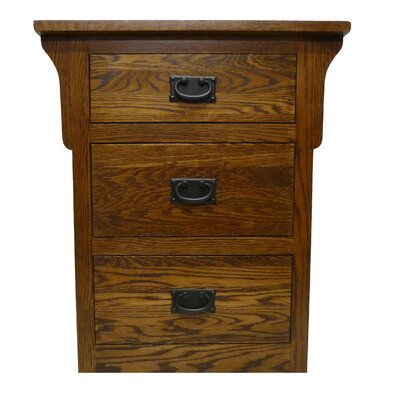 3 Drawer Nightstand Color: Red Oak