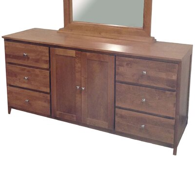 6 Drawer Combo Dresser Color: Honey Oak