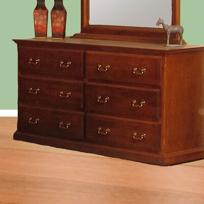 6 Drawer Standard Dresser Color: Chestnut Oak