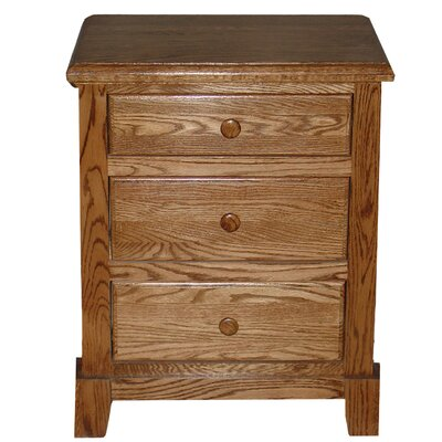 3 Drawer Nightstand Color: Black Adler