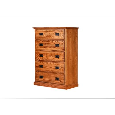 5 Drawer Dresser Color: Coffee Alder