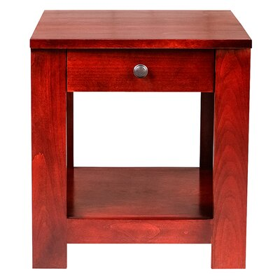 20 H Urban End Table with Black Knobs Color: Red Oak