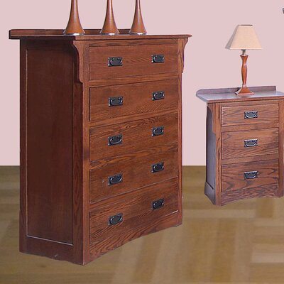5 Drawer Chest Color: Chestnut Oak