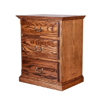 3 Drawer Nightstand Color: Black Alder