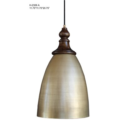 Midwest City 1-Light Mini Pendant Size: 20.75 H x 11.75 W x 11.75 D, Shade Color: Brown/Silver