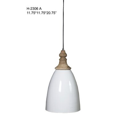 Midwest City 1-Light Mini Pendant Size: 20.75 H x 11.75 W x 11.75 D, Shade Color: Natural White