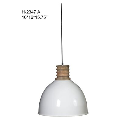 Prunella Iron/Wooden 1-Light Inverted Pendant
