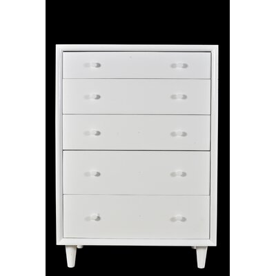 Rocco 5 Drawer Chest Color: White