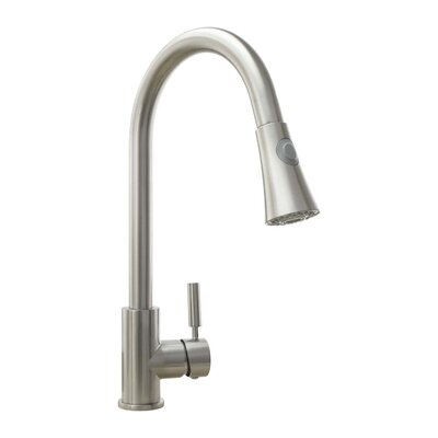 Pull Down Single Handle Deck Mounted Kitchen Faucet Finish: Brushed Nickel