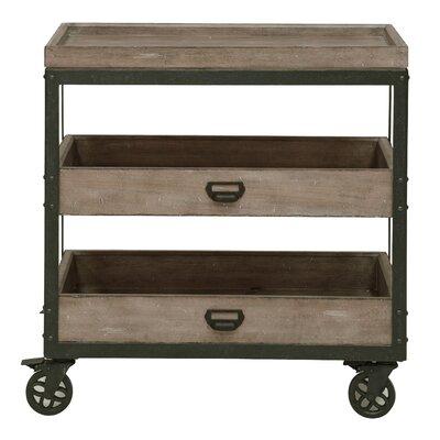 Fort Oglethorpe Kitchen Cart with Wood Top