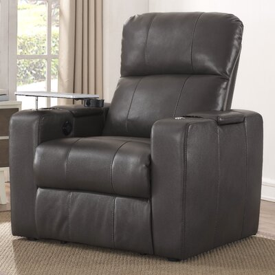Staciee Power Recliner Upholstrey: Charcoal