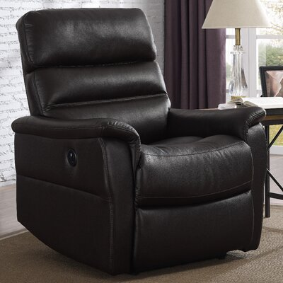 Ash Power Chester Recliner  Upholstery: Chocolate