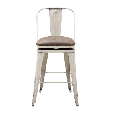 Hardev Metal Framed Swivel Bar Stool Color: White, Upholstery: Brown