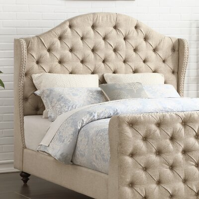 Wydmire Button Tufted Linen Upholstered Wingback Headboard Size: Queen