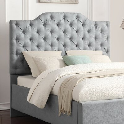 Worcester Button Tufted Damask Pool Upholstered Panel Headboard Size: King