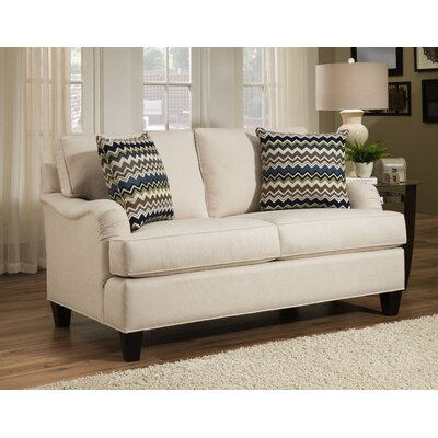 Elsinore Loveseat Body Fabric: Hobnob Vanilla, Pillow Fabric: Gekko Blue