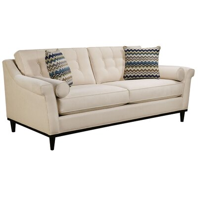 Crescent City Sofa Body Fabric: Hobnob Platinum, Pillow Fabric: Gekko Blue