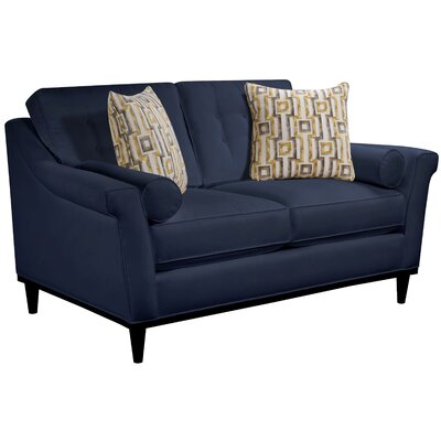 Crescent City Loveseat Body Fabric: Hobnob Vanilla, Pillow Fabric: Gekko Blue