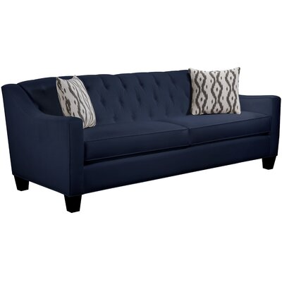 Ingersoll Sofa Body Fabric: Gaberdine Navy, Pillow Fabric: Mod Ikat Gray