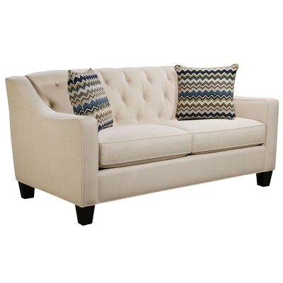 Ingersoll Loveseat Body Fabric: Hobnob Vanilla, Pillow Fabric: Adrian Indigo