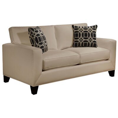 Cannonleague Track Arm Loveseat Body Fabric: Hobnob Platinum, Pillow Fabric: Gekko Blue