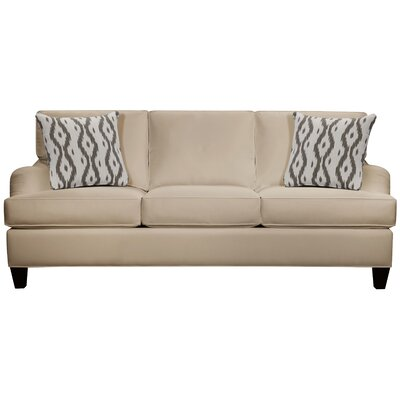 Elsinore Sofa Body Fabric: Gaberdine Raffia, Pillow Fabric: Mod Ikat Gray