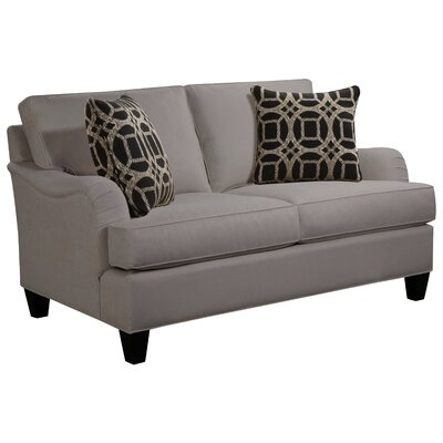 Elsinore Loveseat Body Fabric: Hobnob Platinum, Pillow Fabric: Gekko Blue