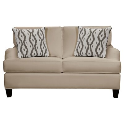 Elsinore Loveseat Body Fabric: Gaberdine Raffia, Pillow Fabric: Gekko Blue