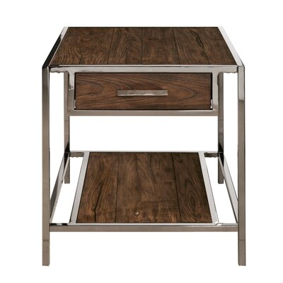 Falkner Modern Industrial Style Wood and Smoked End Table
