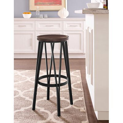 Andera Adjustable Height Bar Stool Color: Matte Black Metal Finish