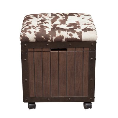 Ispaev Hair-on-Hyde Cushioned Top Accent Storage Ottoman