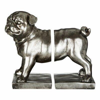 Buchstützen Pug | Wohnzimmer > Regale > Hängeregale | Silber | Castleton Home