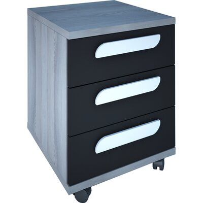 Duffin 3 Drawer Nightstand Color: Molina Oak/Graphite
